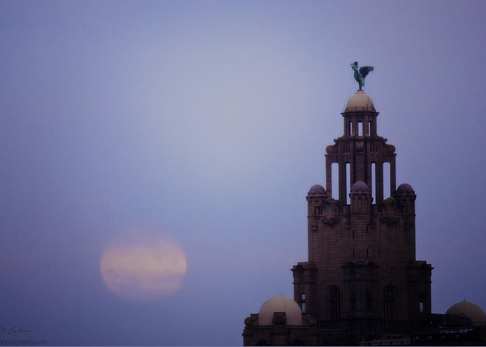 Liverpool Greeting Card featuring the photograph Full Moon In Liverpool by Beverly Cash