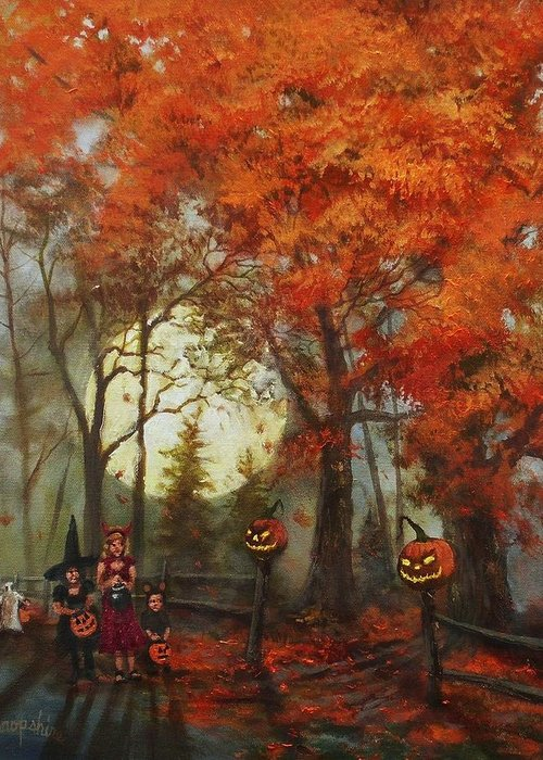 Autumn Greeting Card featuring the painting Full Moon On Halloween Lane by Tom Shropshire