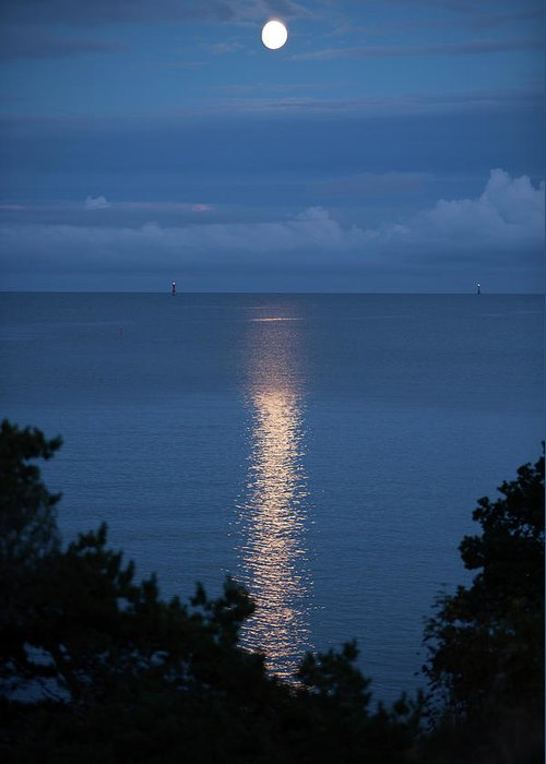 Archipelago Greeting Card featuring the photograph Full Moon Over Sea by Johner Images
