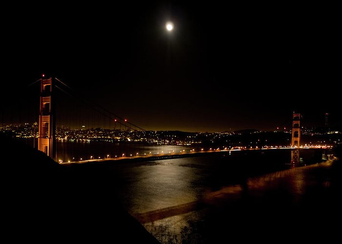 Golden Gate Bridge Greeting Card featuring the photograph Full Moon Rising by Bill Gallagher
