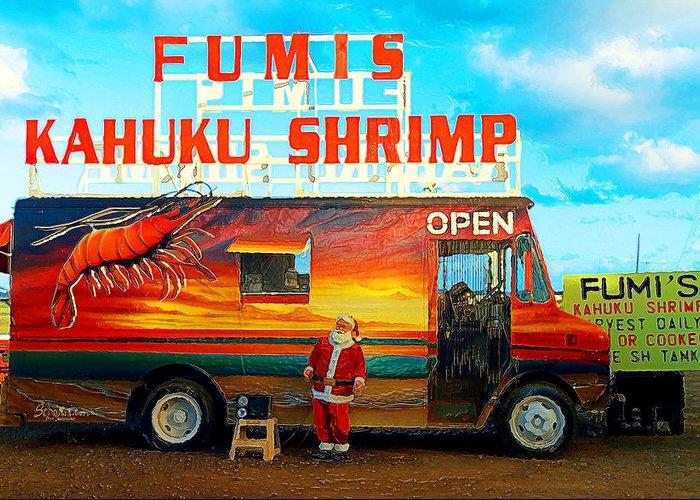 Fumis Kahuku Shrimp Greeting Card featuring the photograph Fumis Kahuku Shrimp by Ron Regalado