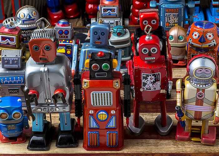 Robots Greeting Card featuring the photograph Fun Toy Robots by Garry Gay