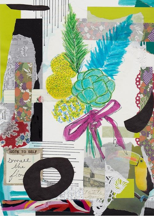 Funky Collage Greeting Card featuring the mixed media Funky Forest Collage by Rosalina Bojadschijew