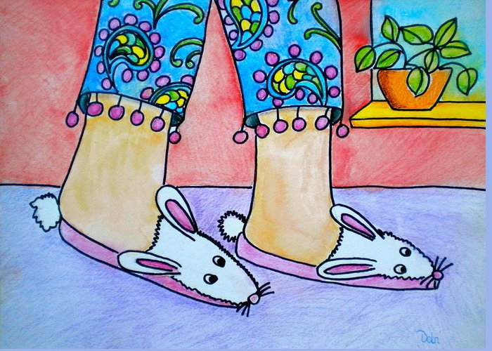 Funny Bunny Slippers Greeting Card featuring the painting Funny Bunny Slippers by Debi Starr