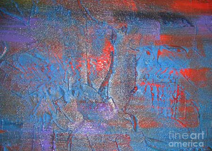 Abstract Greeting Card featuring the painting Funny Rain by Silvana Abel