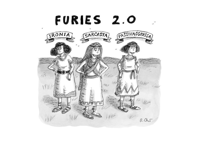 Captionless Greek Mythology Greeting Card featuring the drawing Furies 2.0 by Roz Chast