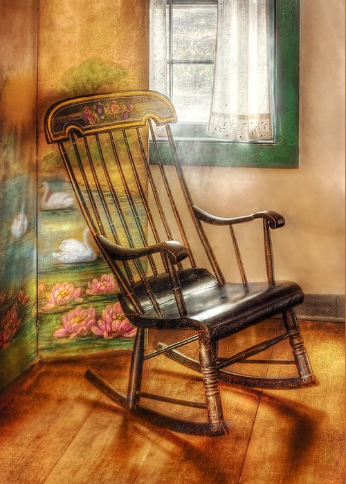 Savad Greeting Card featuring the photograph Furniture - Chair - The Rocking Chair by Mike Savad