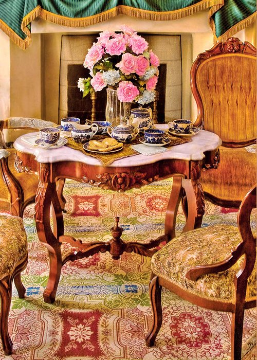 Savad Greeting Card featuring the photograph Furniture - Chair - The Tea Party by Mike Savad