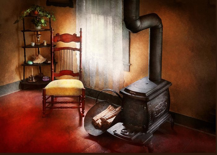 Savad Greeting Card featuring the photograph Furniture - Chair - Where She Spent Most Of Her Days by Mike Savad