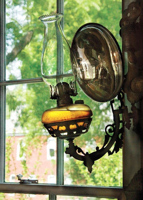 Savad Greeting Card featuring the photograph Furniture - Lamp - An Oil Lantern by Mike Savad