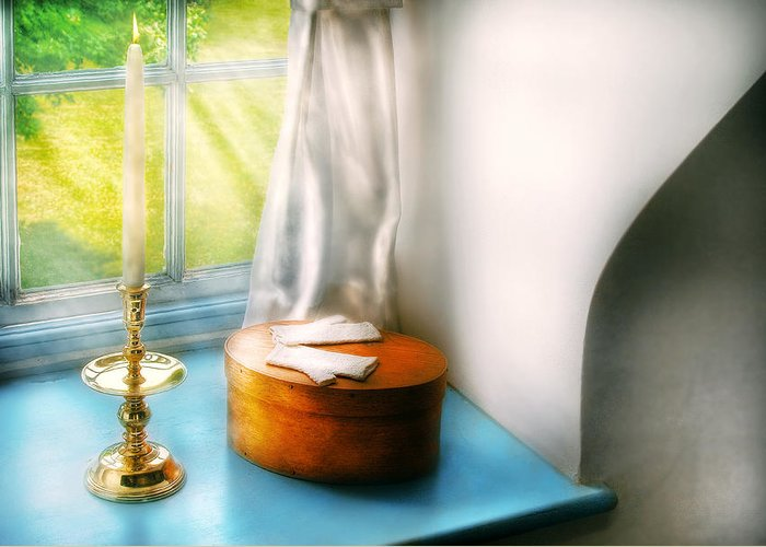 Savad Greeting Card featuring the photograph Furniture - Lamp - In The Window by Mike Savad