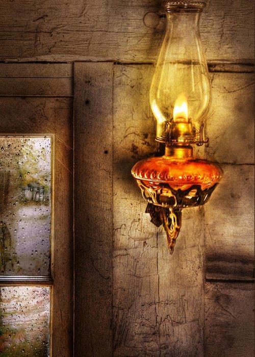 Savad Greeting Card featuring the photograph Furniture - Lamp - Kerosene Lamp by Mike Savad