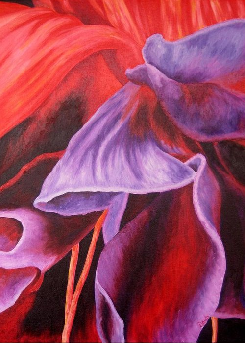 Floral Greeting Card featuring the painting Fuschia Folds by Darla Brock