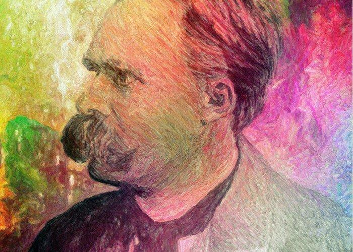 Nietzsche Greeting Card featuring the painting F.w. Nietzsche by Taylan Apukovska