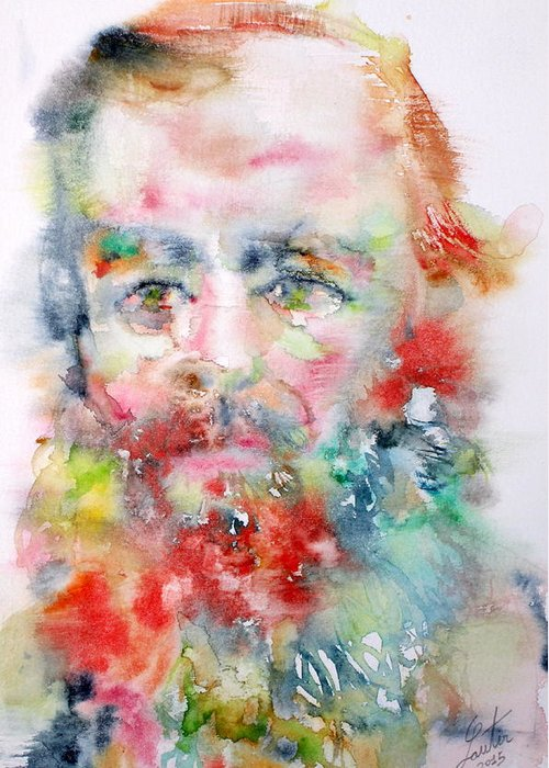 Fyodor Greeting Card featuring the painting Fyodor Dostoyevsky - Watercolor Portrait.4 by Fabrizio Cassetta