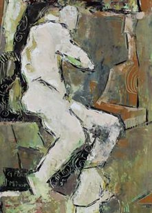 Nude Greeting Card featuring the painting G Flat Minor by Becky Kim