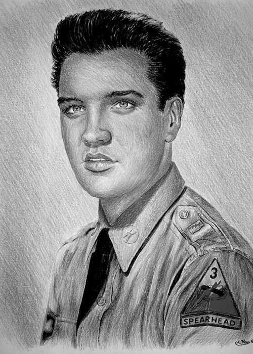 Andrew Read Greeting Card featuring the drawing G I Elvis by Andrew Read