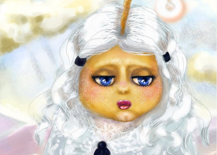 Girl Greeting Card featuring the painting Gabrielle's Bad Hair Day by Miss M von Baron