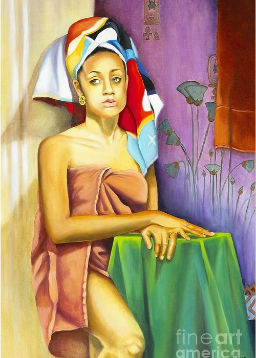 Portrait Greeting Card featuring the painting Gaby by Marlene Book