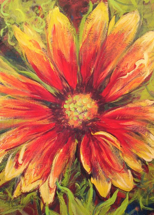 Indian Blanket Greeting Card featuring the painting Gaillardia Light by Lynne Looney