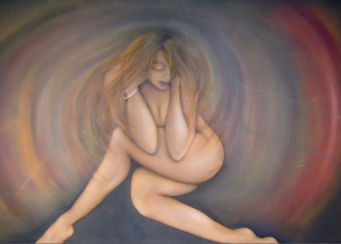 Woman Greeting Card featuring the painting Gaining Strength by Michelle Iglesias