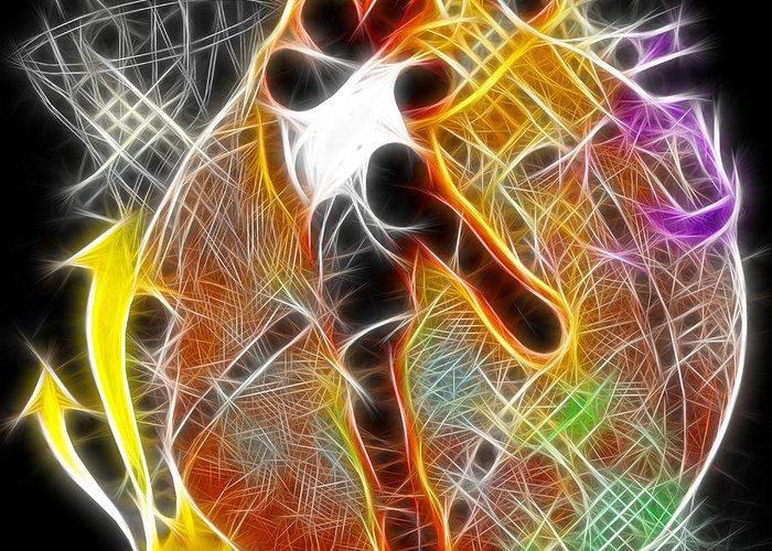 Basketball Greeting Card featuring the digital art Galactic Dunk 2 by David G Paul