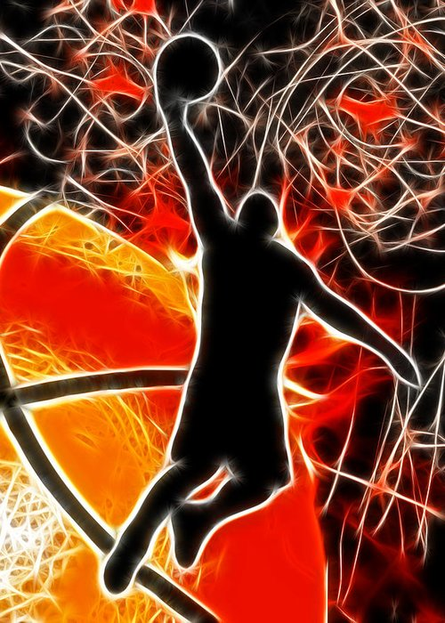 Basketball Greeting Card featuring the digital art Galactic Dunk by David G Paul