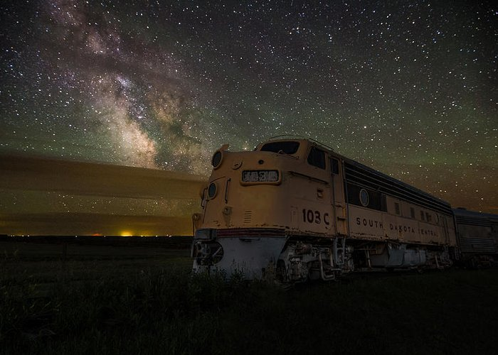 #central Greeting Card featuring the photograph Galactic Express by Aaron J Groen