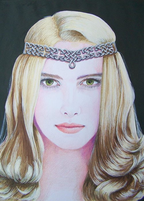 Galadriel Greeting Card featuring the mixed media Galadriel Of Lothlorien by Constance DRESCHER