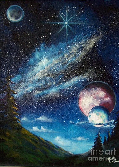 Space Horizon Greeting Card featuring the painting Galatic Horizon by Murphy Elliott