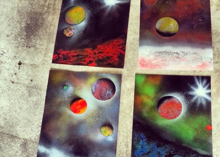 Space Greeting Card featuring the painting Galaxy Art by Vince Ricci