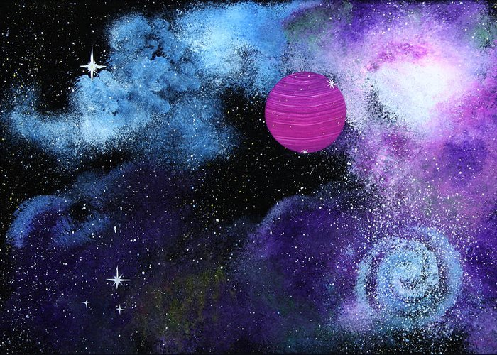 Wolfgang Finger Greeting Card featuring the painting Galaxy by Wolfgang Finger
