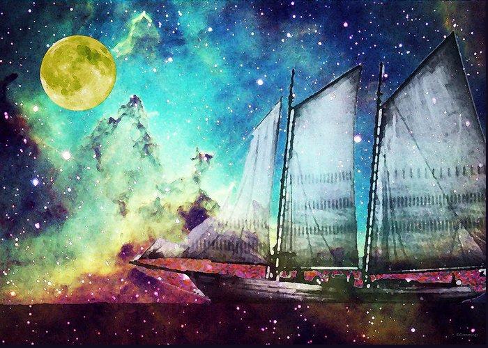 Schooner Greeting Card featuring the painting Galileo's Dream - Schooner Art By Sharon Cummings by Sharon Cummings