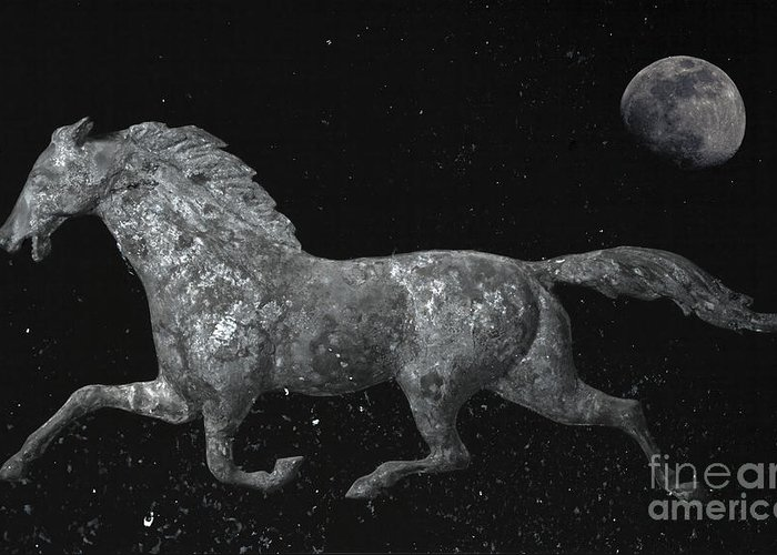 Weathervane Greeting Card featuring the photograph Galloping Through The Universe by John Stephens