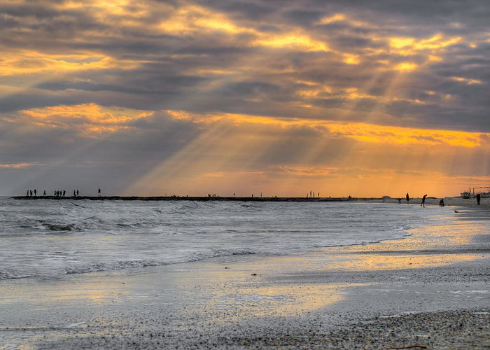 Galveston Greeting Card featuring the photograph Galveston Rays Of Sunshine by Ray Devlin