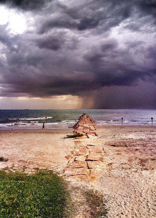 Thunderstorm Greeting Card featuring the photograph Galveston Seawall Storm by Rebecca Bayer