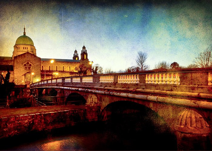 Galway Greeting Card featuring the photograph Galway Cathedral And The Salmon Weir Bridge by Mark Tisdale