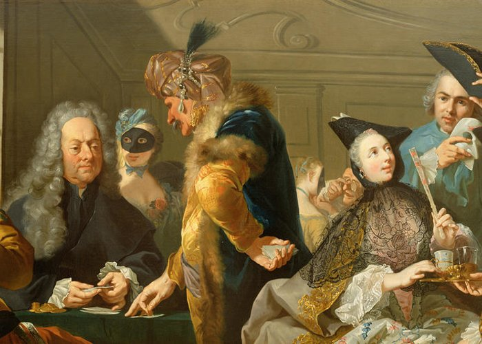 Male Greeting Card featuring the painting Gamblers In The Foyer by Johann Heinrich Tischbein