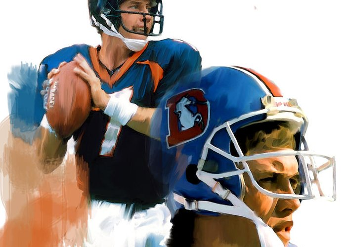 John Elway Lithograph Greeting Cards