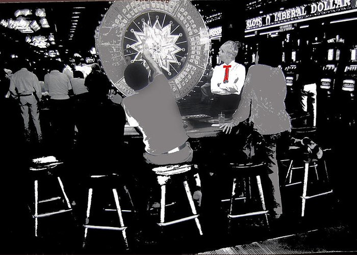 Gaming Tables Interior Binion's Horseshoe Casino Las Vegas Nevada 1979-2014 Greeting Card featuring the photograph Gaming Tables Interior Binion's Horseshoe Casino Las Vegas Nevada 1979-2014 by David Lee Guss