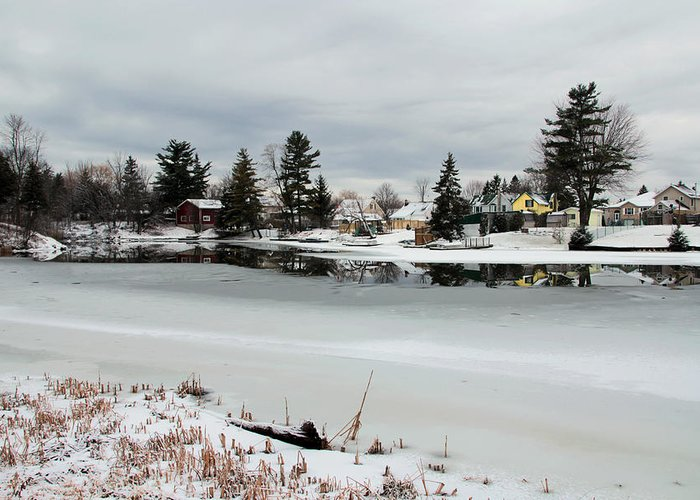 River Greeting Card featuring the photograph Gananoque River In Winter 4 by Jim Vance