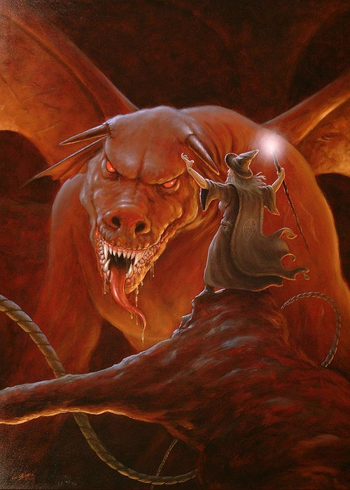 Paintings Greeting Card featuring the painting Gandalf Fighting The Balrog by John Silver