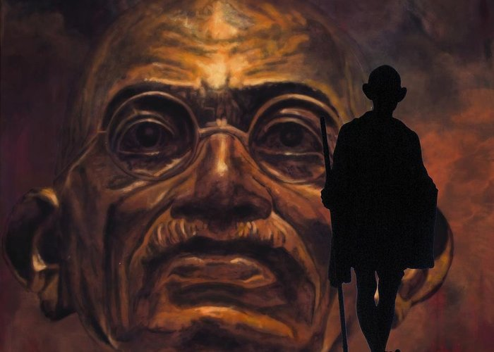 Gandhi Greeting Card featuring the painting Gandhi - The Walk by Richard Tito