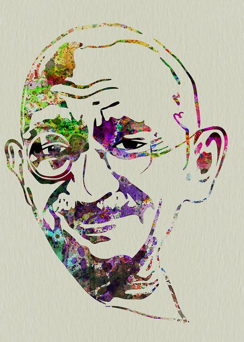 Mahatma Gandhi Greeting Card featuring the painting Gandhi Watercolor by Naxart Studio