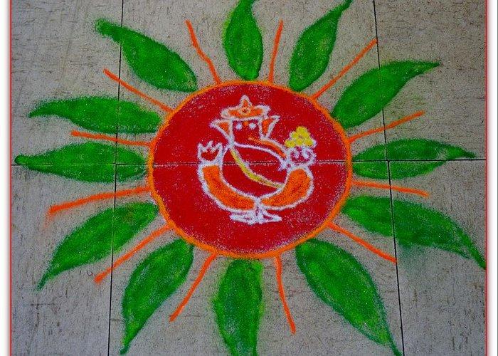 Rangoli Greeting Card featuring the pastel Ganesh Rangoli by Sonali Gangane