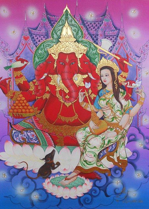 Ganesha Greeting Card featuring the painting Ganesha Laksami by Kaewkao Titayakorn