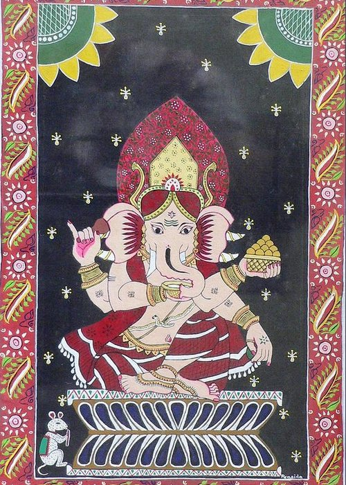 Ganesha Greeting Card featuring the painting Ganesha The Hindu God by Prasida Yerra