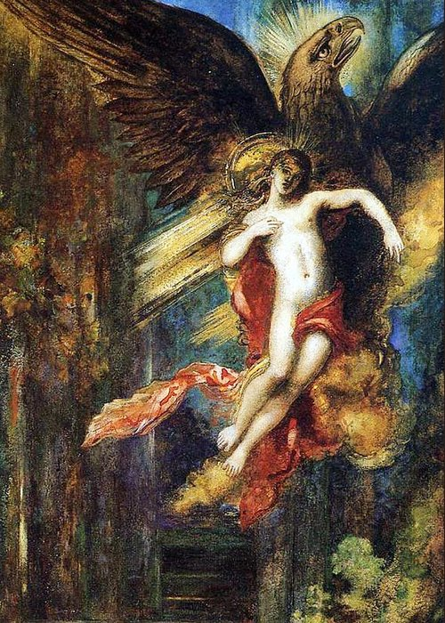 Jupiter; Bird; Taken; Abduction; Mythology; Mythological; Male; Youth; Youthful; Young; Wings; Winged; Kidnapping; Kidnap; Transformation; Metamorphosis; Greek Myth; Abduct; Flight; Flying; Nude; God; Deity; Landscape; Dog; Carrying Greeting Card featuring the painting Ganymede by Gustave Moreau