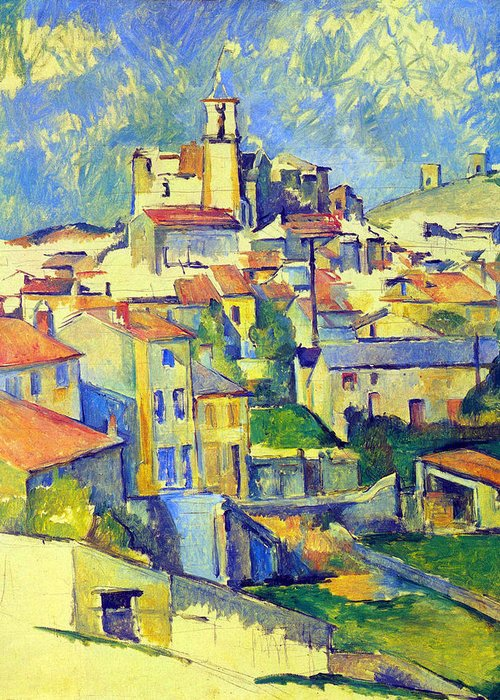 Greeting Card featuring the painting Gardanne By Cezanne by John Peter