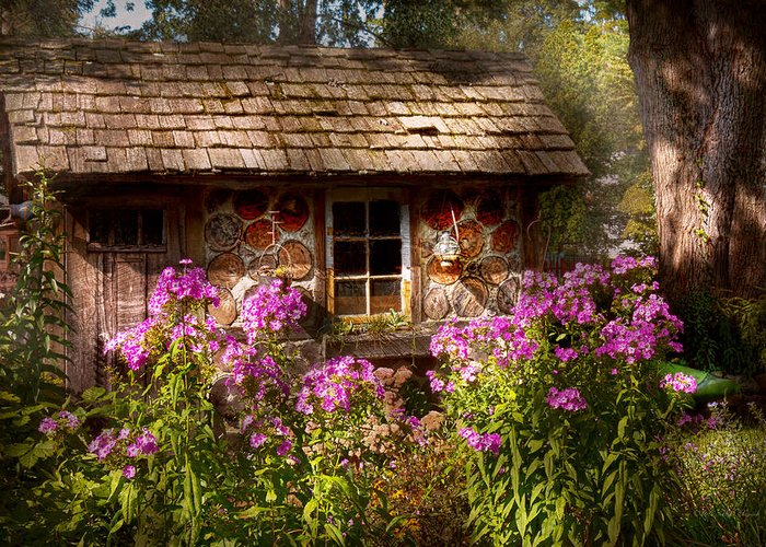 Building Greeting Card featuring the photograph Garden - Belvidere Nj - My Little Cottage by Mike Savad